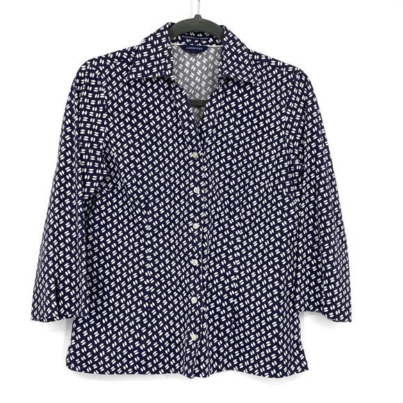 Land's End No Iron PinPoint Oxford Shirt Sz 4P